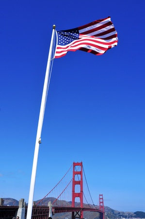US flag and Golden Gate Bridge in San Francisco, United States Stock Photo - 12893914