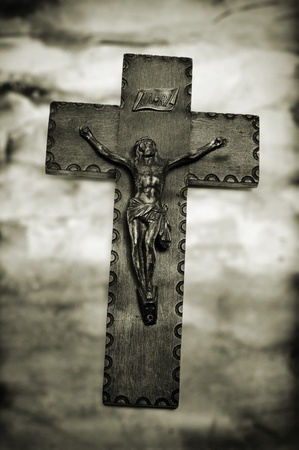 vintage background with the figure of Jesus Christ in the holy cross Stock Photo - 12893917
