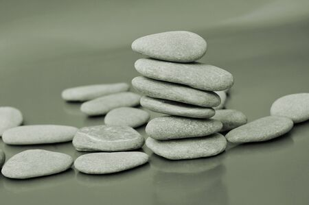 karesansui: a pile of zen stones in black-and-white