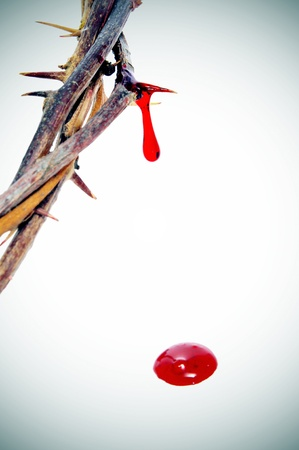 passion of the christ: closeup of a representation of the Jesus Christ crown of thorns with blood Stock Photo