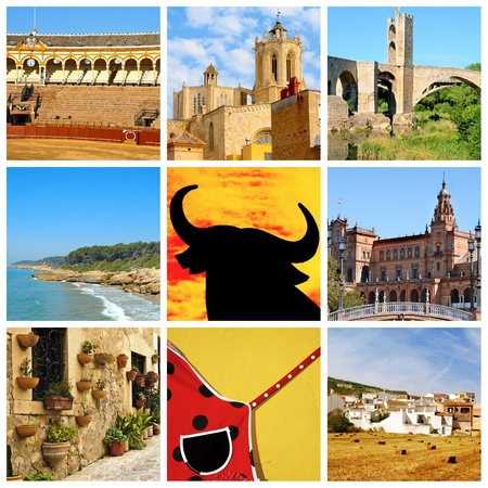 a collage of nine pictures of different scenes of Spain photo