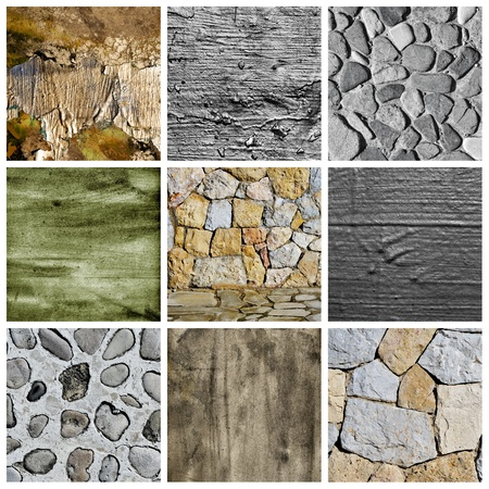 stonemasonry: a collage of nine pictures of different textured surfaces
