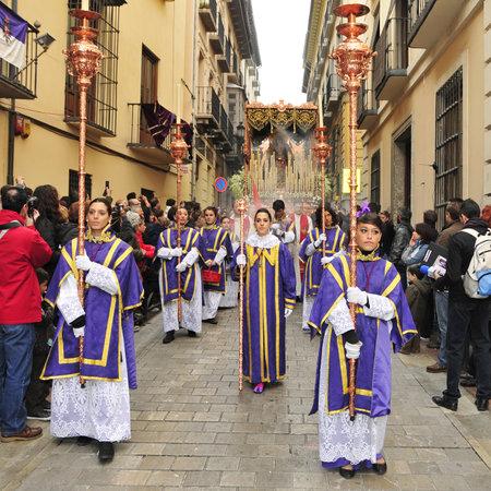 granada: Granada, Spain - April 4, 2012: Easter Procession of Maria Santisima del Sacromonte in Granada, Spain. This statue is known as Virgen de los Gitanos, the Virgin of the Gypsies