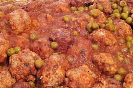 closeup of spanish meatballs stew photo