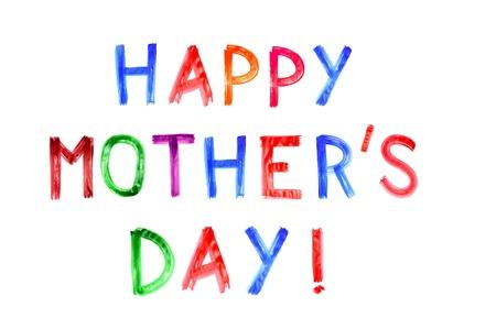 ornamentations: Happy Day madri scritto in diversi colori su uno sfondo bianco Archivio Fotografico