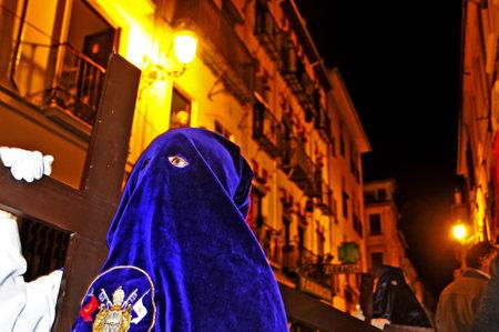 tres: Granada, Spain - April 4, 2012: Easter Procession of Cofradia of Jesus de las Tres Caidas y Nuestra Senora del Rosario in Granada, Spain. This cofradia, confraternity, was founded in 1927