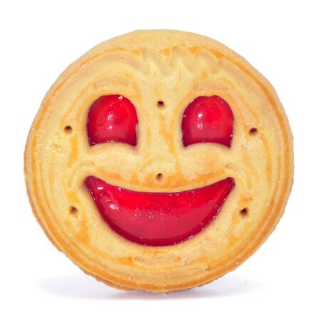 closeup of a smiley biscuit on a white background photo