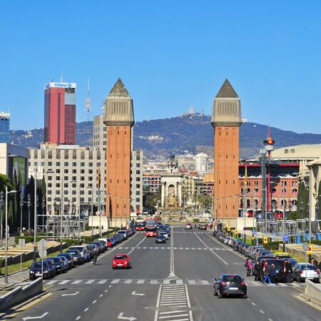 Barcelona, Spain - February 12, 2012: Plaza de Espanya in Barcelona, Spain. There are many landmarks in Plaza de Espanya, such as the twin campanile-style towers built in 1929