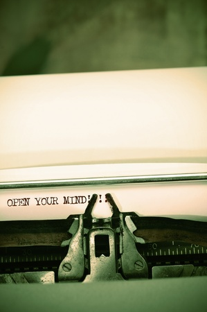 open mind: open your mind written with an old typewriter