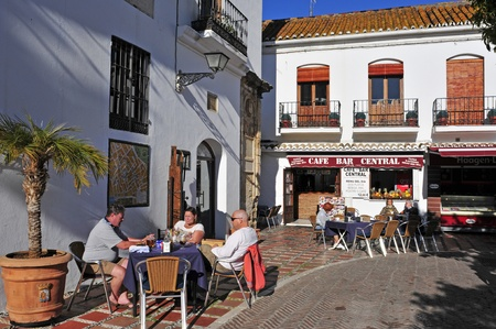 Marbella, Spain - March 13, 2012: Plaza de los Naranjos in Marbella, Spain. In the square, the center of old town, there are the more representative buildings of the city, as the City Hall