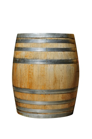 sherry: a wood barrel on a white background Stock Photo
