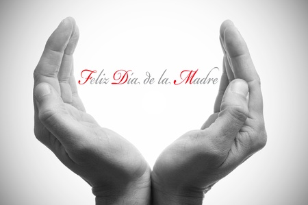 hand written: hands forming a cup and the sentence feliz dia de la madre, happy mothers day in spanish