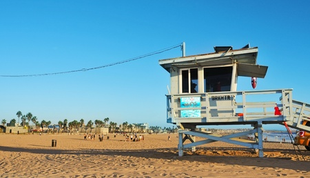 Venice, US - October 17, 2011: Lifeguard tower in Venice Beach in Venice, US. Venice Beach is the headquarters of Los Angeles County Lifeguards, that has 158 lifeguard towers like this