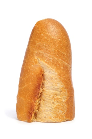 crust crusty: a piece of bread on a white background