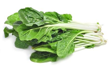 spinaci: bietole foglie su sfondo bianco