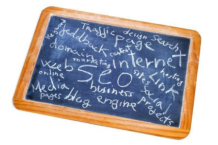 concepts about social engine optimization and internet subjects written on a blackboard photo