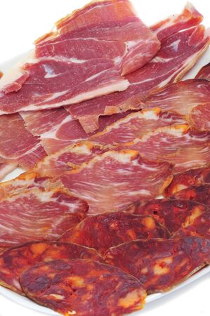 a tray with different spanish embutido, cold meat, jamon, chorizo and lomo embuchado Stock Photo - 13272821
