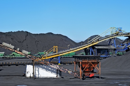 working belt: closeup of the facilities of a coal industry
