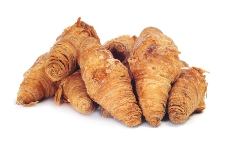 some croissants on a white background photo