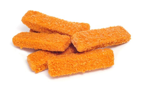 breading: some fish sticks on a white background