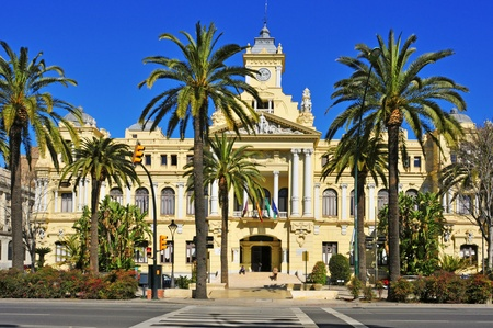Malaga, Spain - March 13, 2012: Facade of City Council in Malaga, Spain. This building, built on 1919, is listed since 2010 as part of Heritage of Cultural Interest in Spain