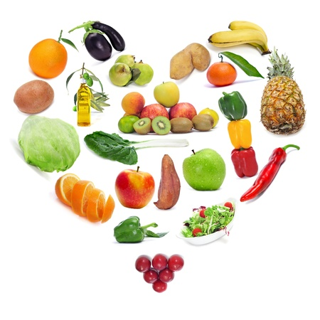 antioxidant: love for the healthy food  fruits and vegetables forming a heart