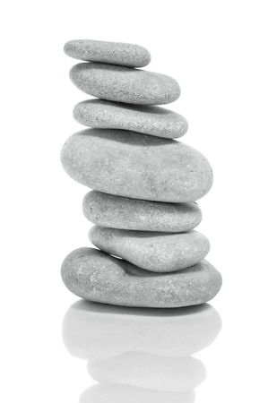 a pile of zen stones on a white background Stock Photo - 13372614