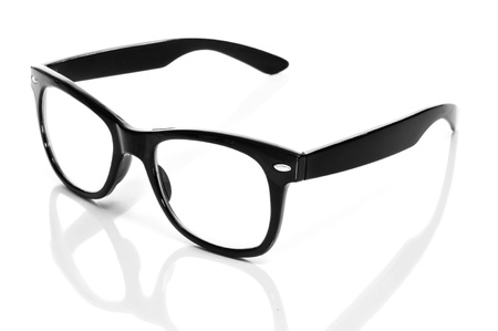 corrective: black glasses on a white background