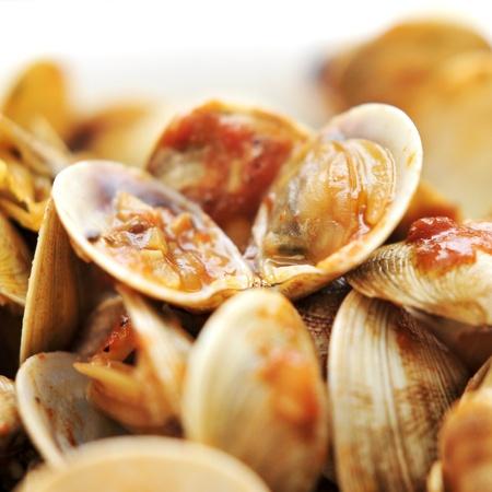 marinara: closeup of clams in marinara sauce