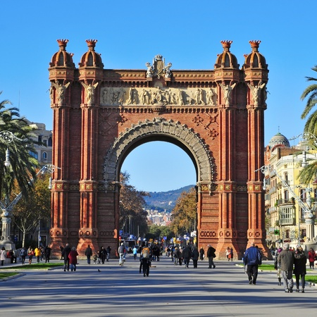Barcelona, Spain - December 18, 2011: Arc de Triomf in Barcelona, Spain. Designed by Josep Vilaseca, it was built for the 1888 Universal Exposition as its main access gate Stock Photo - 13537796