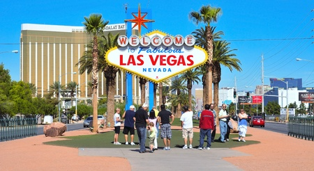 Las Vegas, US - October 13, 2011: Welcome to Fabulous Las Vegas sign in Vegas, US. The famous sign is located near Mandalay Bay, a luxury hotel casino with 3,309 rooms Stock Photo - 13537798