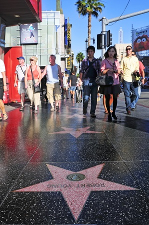 los angeles county: Los Angeles - October 16, 2011: Hollywood Walk of Fame in Hollywood Boulevard in Los Angeles. Those more than 2,400 five-pointed stars attracts about 10 million visitors annually