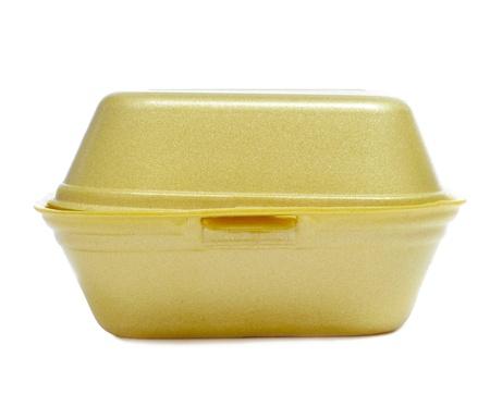 foam box: yellow burger box on a white background