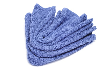 terrycloth: a blue towel on a white background