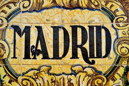 madrid  spain: madrid sign written on mosaic tiles
