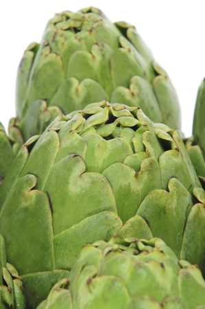 closeup of a pile of artichokes photo