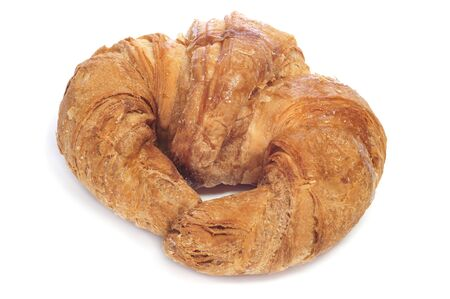 closeup of a croissant on a white background photo