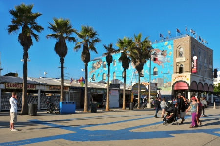 Venice, US - October 17, 2011: Famous mural in Venice Beach in Venice, US. Rip Cronk, the artist, painted some of the most famous murals along the boardwalk and its surrounding areas