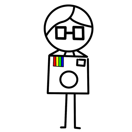 instagram: an illustration of a guy with a camera Stock Photo