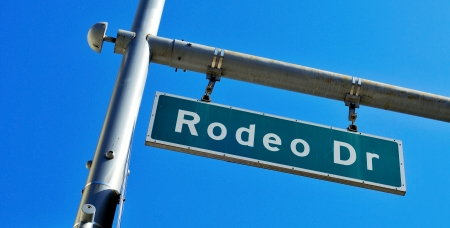 a Rodeo Drive sign over the blue sky photo