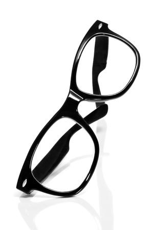 black rimmed: black glasses on a white background
