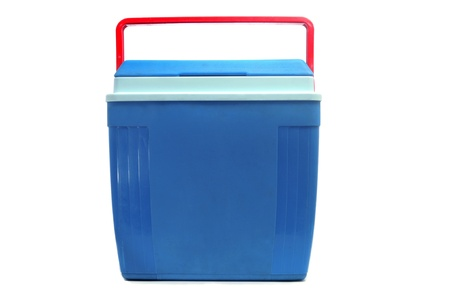 ice chest: a blue cooler with a red handle on a white background