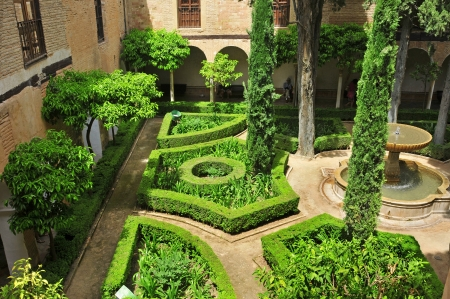 Granada, Spain - May 19, 2012: Patio de Lindaraja in Alhambra in Granada, Spain. La Alhambra is a UNESCO World Heritage Site since 1984