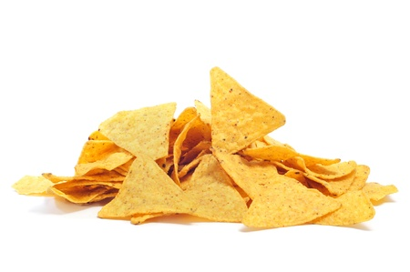 a pile of nachos on a white background photo
