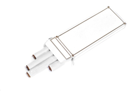 a white cigarettes box with some cigarettes on a on a white background photo