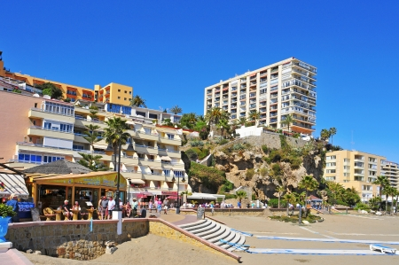 Torremolinos, Spain - March 13, 2012: Bajondillo Beach in Torremolinos, Spain. This popular beach is about 1,100 meters long and 40 meters average width Stock Photo - 14142024