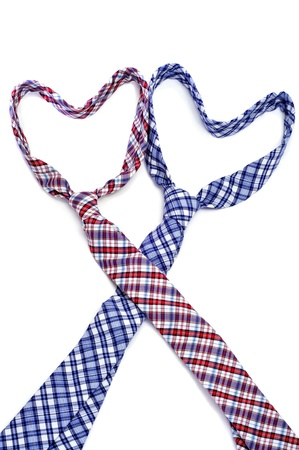 homosexuals: two ties forming hearts symbolizing gay love or gay marriage
