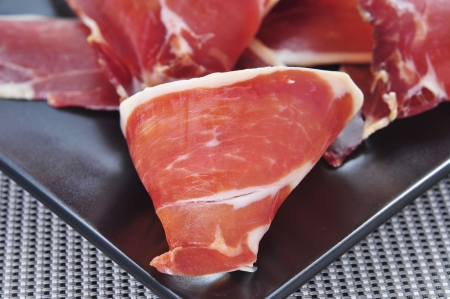 closeup of a some spanish serrano ham tapas photo