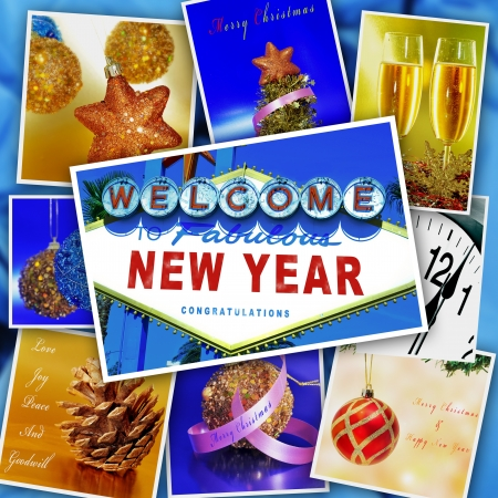 collage with some pictures and postcards with merry christmas and happy new year wishes and objects photo