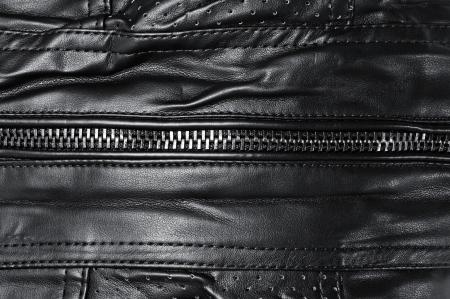 closeup of a black leather jacket photo